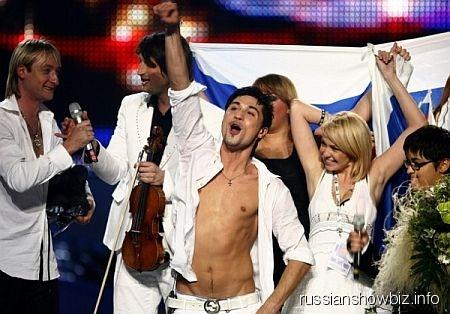 Дима Билан празднует победу на «Евровидении»