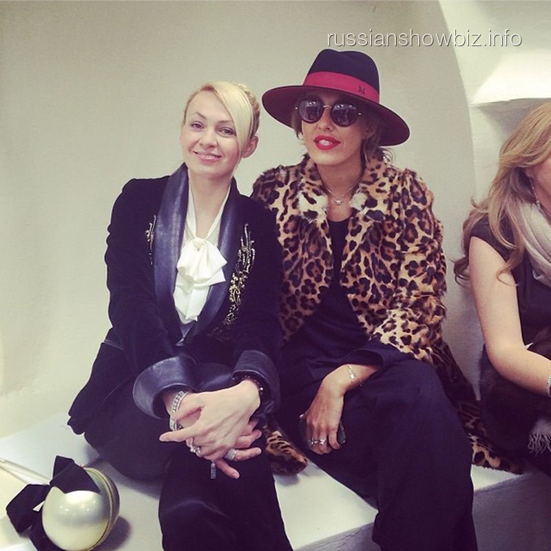 Яна Рудковская и Ксения Собчак на Неделе моды