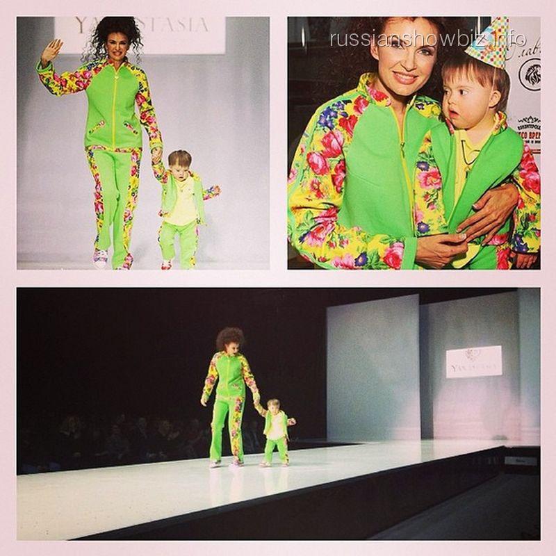 Эвелина Бледанс с сыном на модном показе