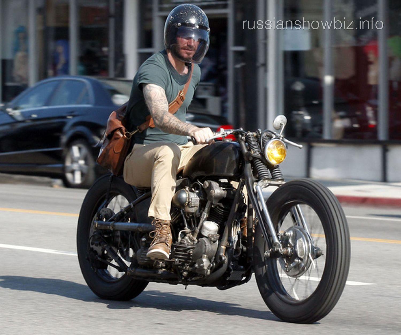 Дэвид Бекхэм на мотоцикле