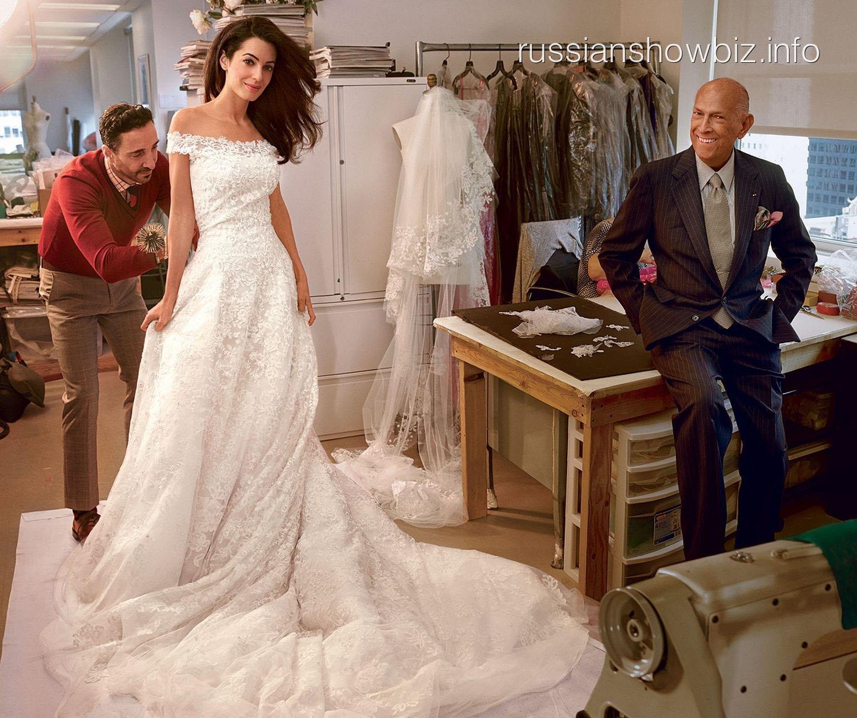 Амаль Амалуддин примеряет свадебное платье