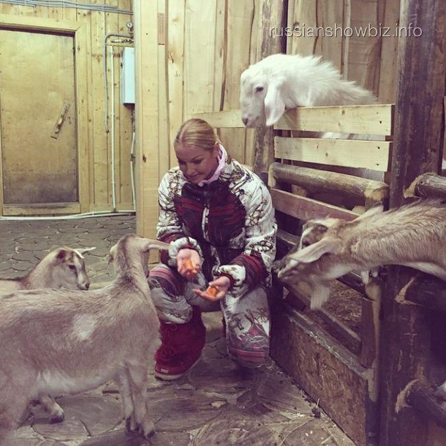 Анастасия Волочкова кормит козлят