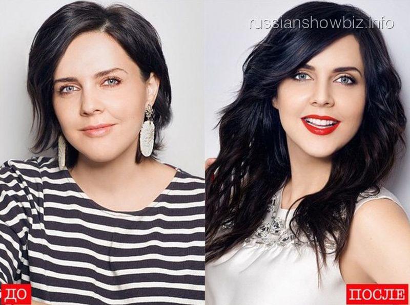 Ольга Шелест до и после наращивания волос