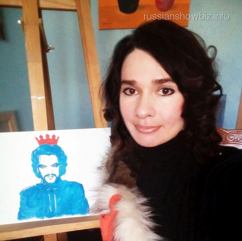 Ирина Романовская с портретом Киркорова